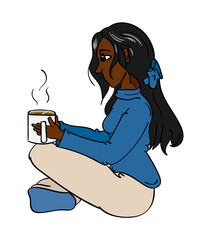 Woman sitting cross-legged with a cup of coffee
