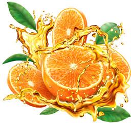 Orange into of splashes juices