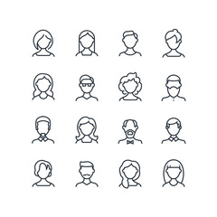 Woman and man face line icons. Female male profile outline symbols with different hairstyles. Vector people avatars isolated