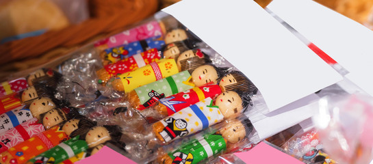 Japanese wooden dolls in the store, Tokyo, Japan. Close-up.