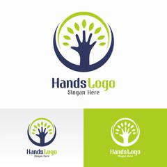 Natural Hand Logo Vector Template
