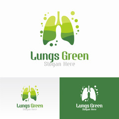 Lungs Green Logo Vector Template