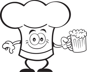 Black and white illustration of a chef hat holding a beer.