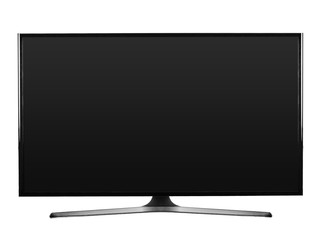Flat screen television with tv stand isolated on white background. Clipping path for design.