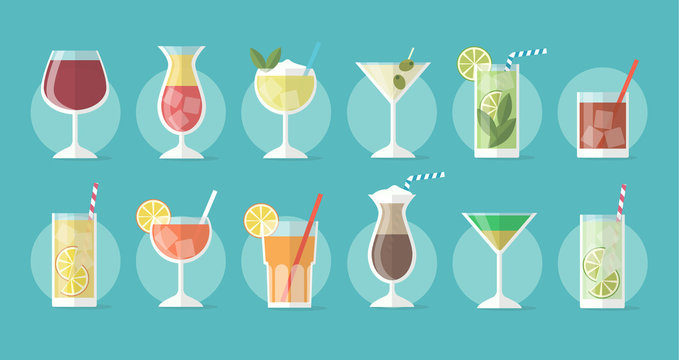 Cocktail collection in flat style - set of illustrations with different drinks and cocktails