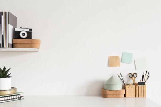 Home office desk. Creative workspace. Mock up.