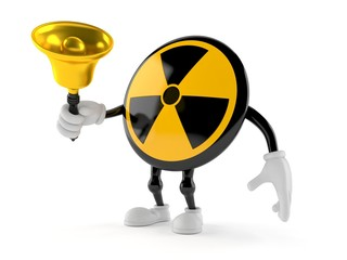 Radioactive character holding hand bell