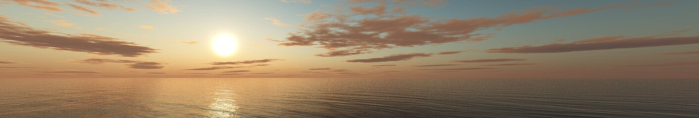 Beautiful sea view. Sea sunset. Light over the sea.