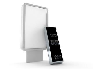 Silver ingot with blank billboard