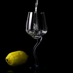 wine glass lemon