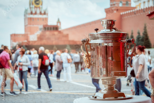 samovar on the red square as a symbol of russian hospitality