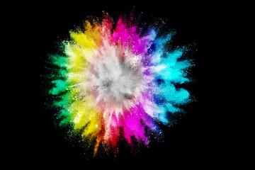 Multicolor powder on black background.