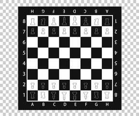 Chess pieces in flat style. Black and white chessboard with chess pieces. Vector illustration EPS10