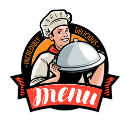 Restaurant or cafe menu, logo or label. Vector illustration