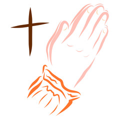 Hands of a praying woman and a cross