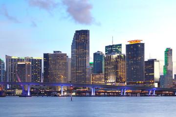 Downtown skyline of Miami at dusk, Florida, USA