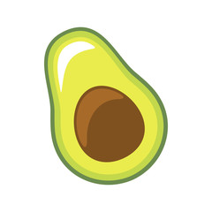Fresh slice of avocado on white background