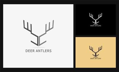 abstract deer antlers logo.