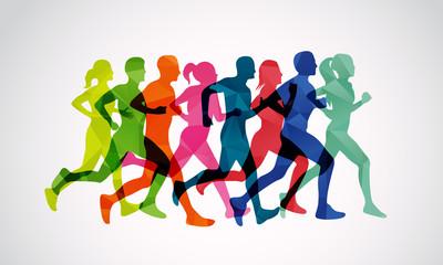 Marathon runners vector template