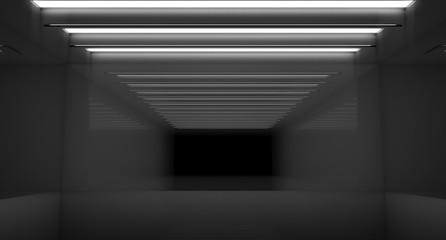 Contemporary future concept background. Empty futuristic clean dark box interior room With Light. 3D Rendering