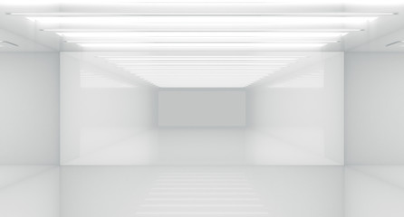 Contemporary future concept background. Empty futuristic clean white box interior room With Light. 3D Rendering