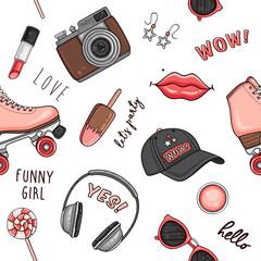 Comic seamless pattern with ice cream, roller skates, cap, photo camera, headphones, hashtags