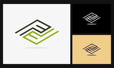 letter F circuit square logo
