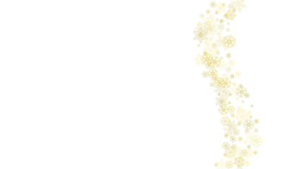 Glitter snowflakes frame on white horizontal background. Shiny Christmas and New Year frame for gift certificate, ads, banners, flyers. Falling snow with golden glitter snowflakes for party invite