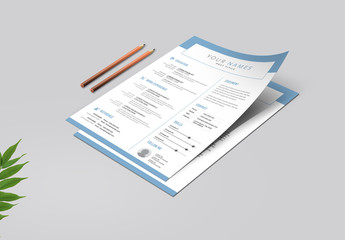 Resume and Cover Letter Layout with Light Blue Elements