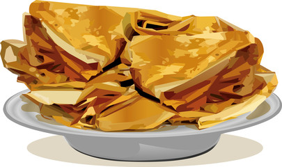 Russian pancakes on a plate vector illustration isolated on white background