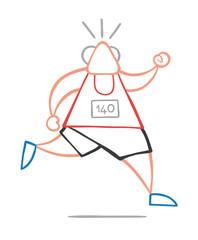 Vector illustration cartoon old athlete man running