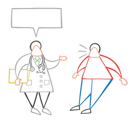 Vector cartoon doctor man holding folder and talking to his patient with blank speech bubble and oatient surprised