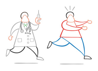 Vector cartoon doctor man with stethoscope and running, holding syringe ready for injection and patient scared and running away