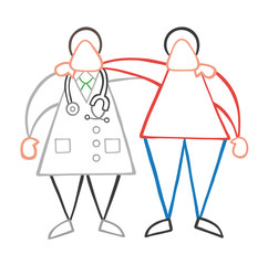 Vector cartoon doctor man and patient friendly and hugging