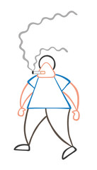Vector cartoon man walking and smoking cigarette