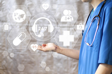Wall Mural - Doctor pushing button 24 hours support heart pulse healthcare network on internet panel medicine