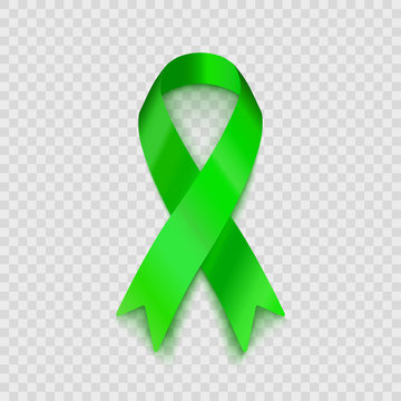 Stock vector illustration lime green ribbon Isolated on transparent background. Non-Hodgkin lymphoma awareness EPS10