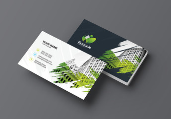 Business Card Layout with a Green Brushstroke Element