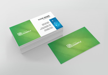 Business Card Layout wth Green Background
