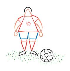 Vector cartoon soccer player man standing with soccer ball
