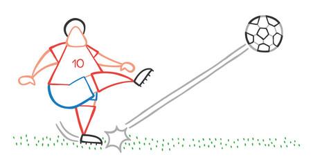 Vector cartoon soccer player man shooting ball on pitch