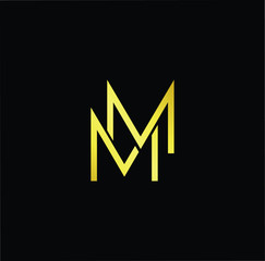 Abstract letter MM. minimal logo design template. Vector letter logo with gold and black color.
