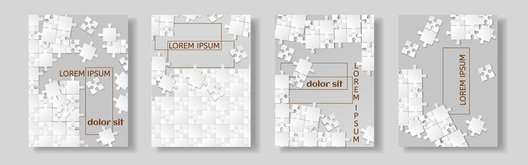Flyer design, Leaflet cover presentation abstract flat background, book cover templates, Jigsaw puzzle image. Layout in A4 size.