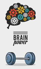 Brain power with gears and weight vector illustration graphic design