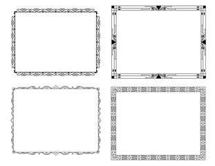 Collection of decorative monochrome frames