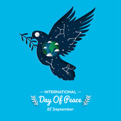 international peace day with dove bearing the world greeting card