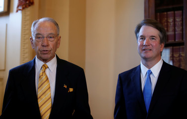 U.S. Supreme Court nominee Kavanaugh meets with Senate Judiciary Committee Chairman Grassley on Capitol Hill in Washington