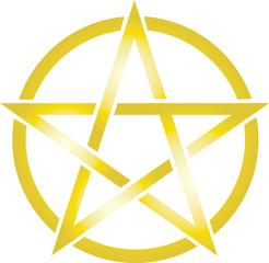 Pentagramm - Gold - vector icon