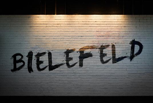 Bielefeld written on a wall concept