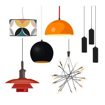 floor lamps. lamps interior design elements. ceiling pendant lamp.